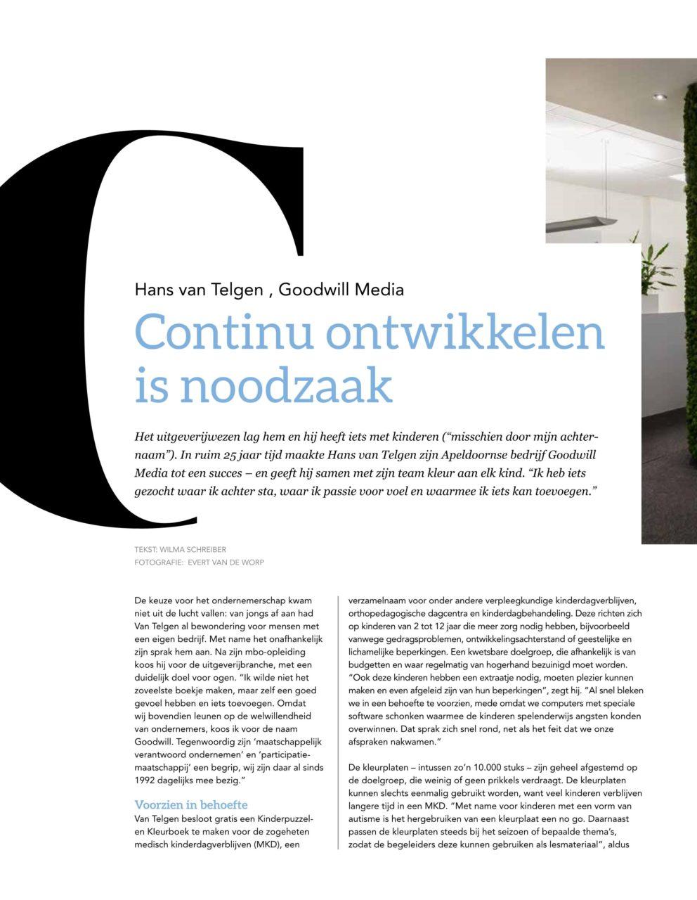 Linkerpagina met het interview van Hans van Telgen in Driestedenbusiness